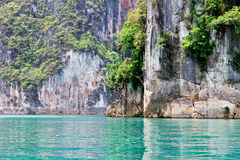 Attractions in Thailand. Mountain in Cheawlarn dam at Thailand Royalty Free Stock Images