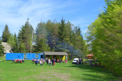 Mountain children camp Stock Images