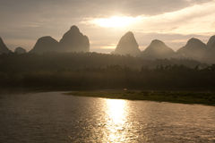 Mountain in china at sunrise. Mountain in china li river at sunrise Royalty Free Stock Photos