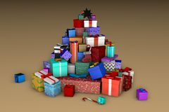 A mountain of Christmas gifts in the shape of a Christmas tree on a beige background 3D vector illustration
