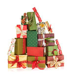 Mountain of christmas presents. Big stack of christmas presents in the shape of a high mountain Royalty Free Stock Photos