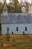 Mountain Church with cementary. In fall Stock Image