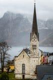 Mountain Church on a Rainy Autumn Day stock images
