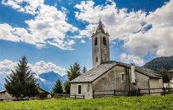 Mountain church in Val d'Aosta, italian alps. Little ancient mountain church in Val d'Aosta, italian alps royalty free stock photos