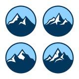 Mountain in Circle Logo Design Elements. Vector Royalty Free Stock Photos