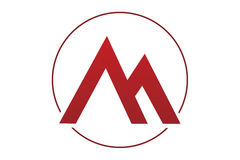 Mountain circle logo. Letter m logo with shape of a mountain and insed of circle Stock Photography