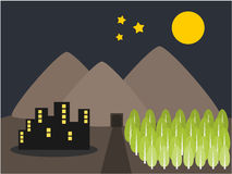 Mountain city and tree at night illustration Stock Photos