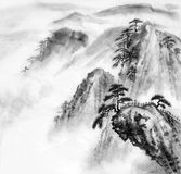 Mountain cliff. Chinese painting illustration of mountain and fur forests Royalty Free Stock Photo