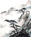 Mountain cliff. Chinese painting illustration of mountain and fur forests Royalty Free Stock Image