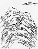 Mountain ink painting Stock Image
