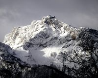 Mountain Cliff Covered With Snow Near Trees Landscape Photo Royalty Free Stock Photography