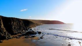 Mountain cliff near sea at dusk 4k. Beautiful mountain cliff near sea at dusk 4k stock video