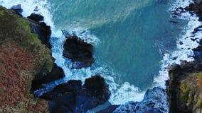 Mountain cliff in sea at dusk 4k. Beautiful mountain cliff in sea at dusk 4k stock video