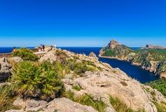 Mountain cliffs landscape of cape Formentor on Majorca, Spain stock photography