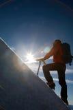 Mountain climber. Lone male mountain climber climbing a snowy ridge; Mont Blanc, Europe stock photos