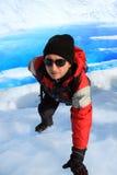 Mountain climber. A Mountain climber at Perito Moreno Glacier, Patagonia, Chile royalty free stock image