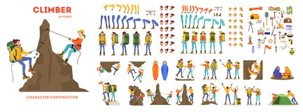 Free Mountain Climber Animation Set. Active And Extreme Royalty Free Stock Images - 144976659