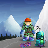 Mountain climber cartoon character background Royalty Free Stock Photos