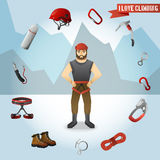 Mountain climber character icons composition Royalty Free Stock Photo