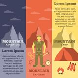 Mountain climber equipment banners set Stock Images