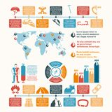 Mountain climber equipment inforgraphic. Mountain summit ascent records world map and climbing equipment development infographic chart layout presentation Royalty Free Stock Images