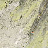 Mountain-climber leads pitch the wall Zamarla Turnia. Stock Photo