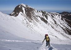 Mountain climber on snow. Stock Photo