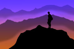 Mountain Climber on Summit Stock Image