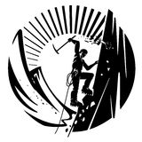 Mountain climber. Vector illustration in the engraving style royalty free illustration