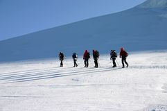 Mountain climbers. On alps - Monte Rosa glacier stock photography