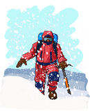 Mountain climbers. Dressed in red climbs up a snowy slope Stock Photos