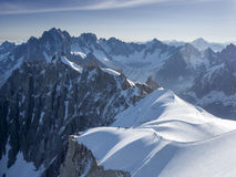 Mountain climbers at Chamonix. Going to L'Aguille du Midi Stock Photo