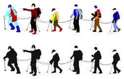 Mountain climbers in line. Mountain climbers joined by ropes on way to summit Royalty Free Stock Photography