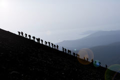 Mountain Climbers At The Peak  Royalty Free Stock Photography