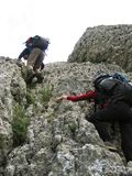 Mountain climbing. Two climbers on the rock Royalty Free Stock Photo