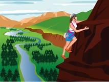 Mountain climbing. Vector illustration of a mountain climber and landscape Royalty Free Stock Photos