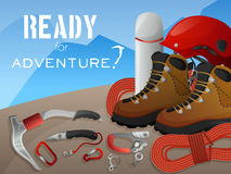 Mountain climbing adventure background banner Stock Images
