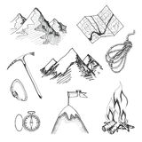 Mountain climbing camping icons Royalty Free Stock Image