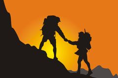 Mountain climbing canvasser stock illustration