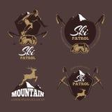 Mountain climbing color vector labels. Ski Resort vintage logo Royalty Free Stock Photos