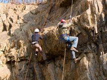 Mountain climbing competition royalty free stock photos