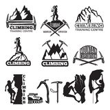 Mountain climbing and different equipment. Vector labels template with place for your text. Climbing extreme badge silhouette, logo exploration climbing stock illustration