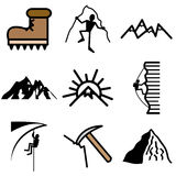 Mountain and climbing icons Royalty Free Stock Photo