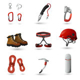 Mountain climbing icons set Stock Photo