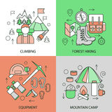 Mountain Climbing Linear Compositions. With alpinism forest hiking sportive equipment tourist camp  vector illustration Stock Images