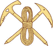 Mountain Climbing Pick Axe Rope Crossed Drawing Royalty Free Stock Image