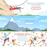 Mountain climbing pictures. Rope carabiner helmet rockie hills people extreme sport vector banners template with place. For text. Illustration of mountain royalty free illustration