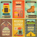 Mountain climbing. Posters Collection. Camping and Hiking Elements. Vector Illustration Royalty Free Stock Images
