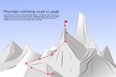 Mountain climbing route to peak. royalty free illustration