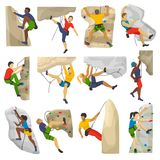 Mountain climbing vector climber climbs rock wall or mountainous cliff and people in extreme sport mountaineer character. Mounts set illustration of stock illustration